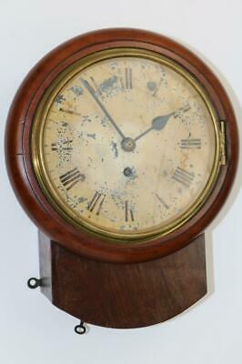 "RARE SMALL ANTIQUE  FUSEE ENGLISH 8"" DIAL CLOCK 8 DAY railway school WORKING"