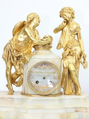 ANTIQUE FRENCH ORMOLU & MARBLE MANTEL CLOCK - HOWELL & JAMES - JAPY FRERES c1860