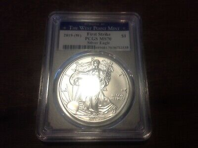 2019-(W) $1 PCGS MS70 First Strike Silver American Eagle Struck at West Point!!!