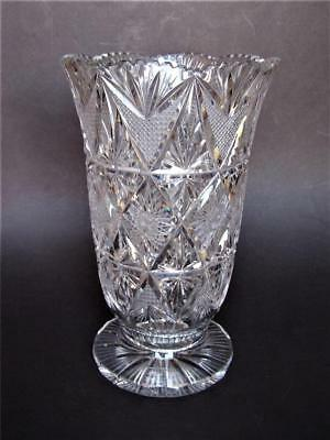 Huge HIGH QUALITY Heavy Tall Cut Lead Crystal Vase 11.75""