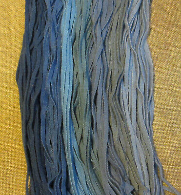 #6 Got the Blues  150 hand dyed Wool Strips for Primitive Rug Hooking