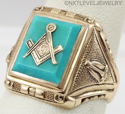 Antique Art Deco GOTHIC Masonic Natural Turquoise 10k Solid Gold Men's Ring