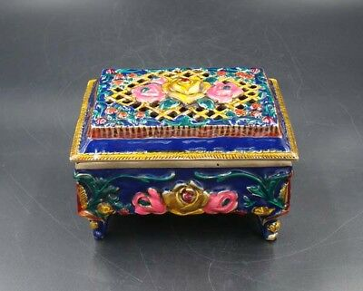 Handmade Carving Statue Brass Cloisonne Coloured drawing Incense Burners XUanDe