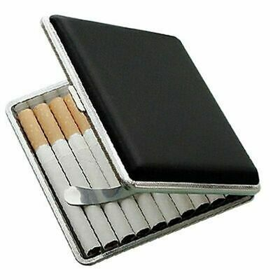 Stainless Steel Cigarette Case Cigar Tobacco Pocket PU Leather Pouch Holder OE