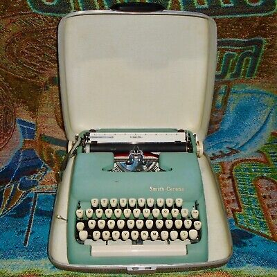 Vintage Blue Smith Corona Sterling Portable Typewriter with Case - Works Great