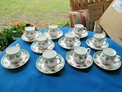 10 Gilman Collamore Ny Royal Crown Derby Demitasse Cups Saucers Turquoise Gold