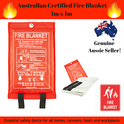 Fire Blanket 1m x 1m Australian Certified- Quality Fibre Glass Home Boat Camping