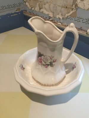 Wash jug and basin in perfect condition - off white with roses