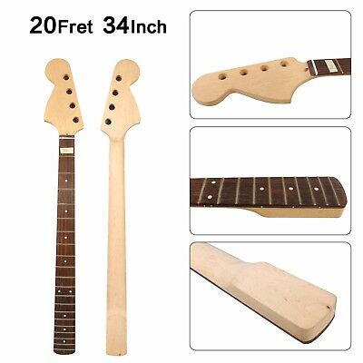 Unfinished Electric Bass Guitar Neck 20Fret 34inch Maple+Rosewood Fretboard #B4