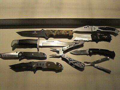 Knife Mixed Lot Of 9 Knives & Multi-tools Buck, Leatherman, Gerber, Etc.