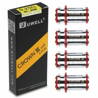4x Uwell Crown 3 Coil Head Replacement Coils For Crown III Tank 0.25ohm / 0.5ohm