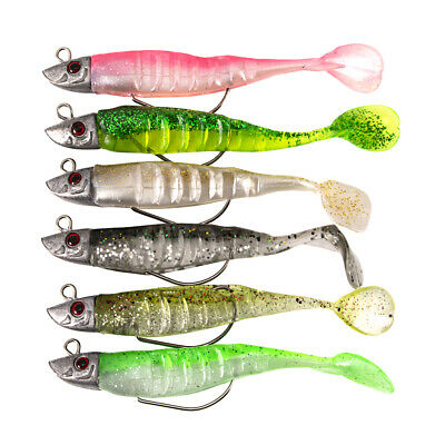 6Pc Outdoor Glitter Sequins Fish Shape Fishing Bait Lures Tackle with Hook Goodi