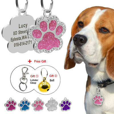 Rhinestones Personalised Dog Tag Paw Shape Cute Cat Tag Disc Engraved Bell Gift