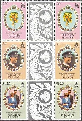 1981 Pitcairn Is. #206-8 Complete MNH Gutter Pairs Charles & Diana Royal Wedding