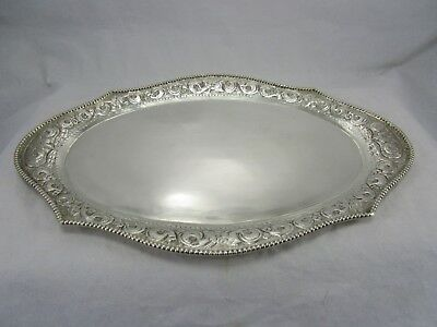 """Antique Hand Chased Repousse Coin Edge 13"""" Sterling Silver Oval Tray 433 Grams"""