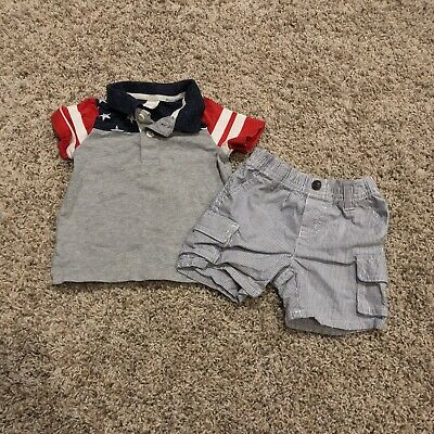 Gymboree Baby Boys Summer Bundle Lot Size 6-12 Months Polo Red White Blue