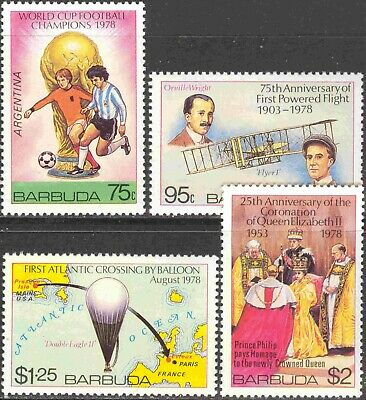 1978 Barbuda #374-7 Cpl. MNH Set of 4 Anniversaries & Events