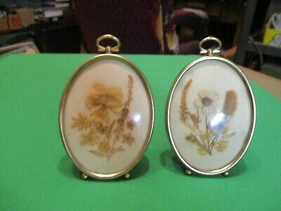 Pair Vintage Framed Dried Flower Arrangements .oval Convex Glass; Brass Plated