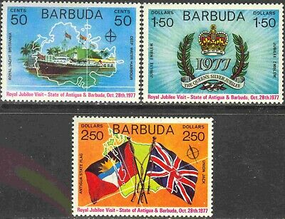 1977 Barbuda #302-4 Complete Mint Never Hinged Set of 3 Silver Jubilee