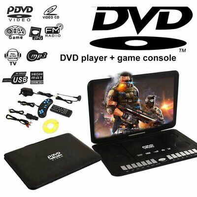 """13.9"""" Portable CD DVD Player 270° Swivel LCD Widescreen 16:9 Gaming Player TV FM"""