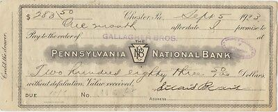 1923 Pennsylvania National Bank Check, $283.50, w/ 2 Documentary Stamps on Back