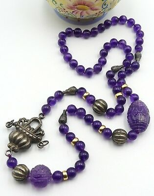 Old Chinese carved amethyst beads & sterling basket 14k gold beads necklace