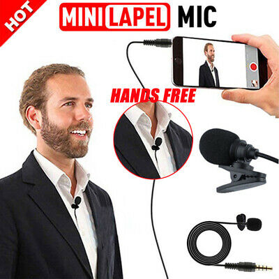 Clip On Lapel Microphone Mic Hands Free Wired Condenser Mini Lavalier Mic 3.5mm