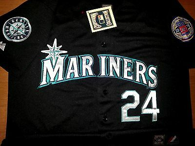 new style 9215d 7a744 NEW SEATTLE MARINERS #24 Ken Griffey Jr2Patch Stitched Majestic Jersey  BLACK MEN