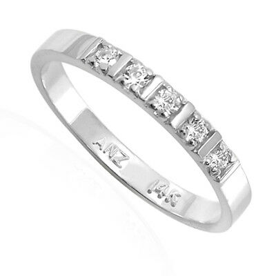 14k Solid White Gold Wedding Band Genuine Diamond Ring #R1846 SIZE 4-9