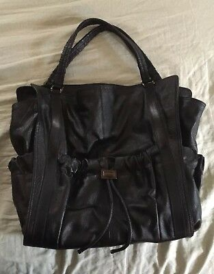 72c22edb2e9b Burberry Leather Tote Black Pebbled Drawstring Zippers With Pockets  Authentic