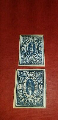 Hamburg,Germany W.Krantz Private Local Post  1/2&1pf unused