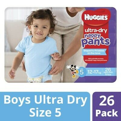 Huggies Ultra Dry Nappy Pants For Boys 12-17 Kg Size 5 26 Pack