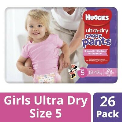 Huggies Ultra Dry Nappy Pants Girls 12-17 Kg Size 5 26 pack