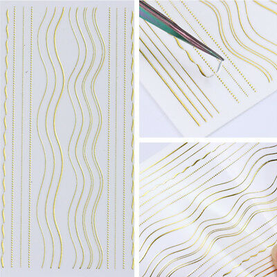 Gold Metal 3D Nail Stickers Strip Lines Nail Art Adhesive Transfer Sticker Decal