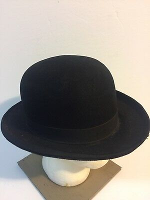 Vintage LONGLEY ANTIQUE VICTORIAN BLACK DERBY BOWLER HAT 7 3 8 ad3859b0a17a
