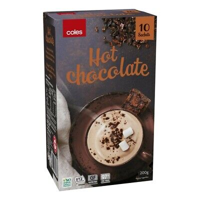 Coles Hot Chocolate Instant Drink Sachets 10 Pack 200g