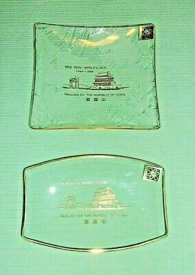 New York World's Fair 1964-1965 Republic Of China Pavilion Glass Trays..2 PIECES