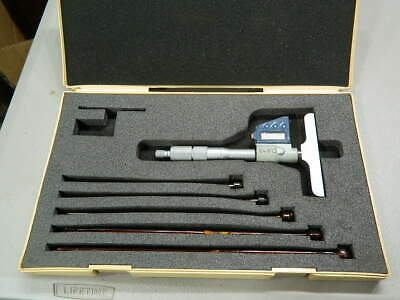 Mitutoyo Digital 0-6 Inch Depth Micrometer W/6 Interchangeable Rods 4 Inch Base