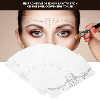 50pcs/Set Disposable Eyebrow Ruler Sticker Microblading Makeup Measuring Set