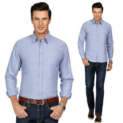 Plus Size Mens Luxury Shirts Long Sleeve Slim Fit Dress Shirts Top Business Tops