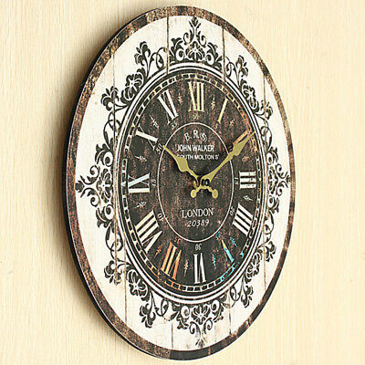 Vintage Rustic Wooden Wall Clock Antique Shabby Retro Home Kitchen Room Decor N1