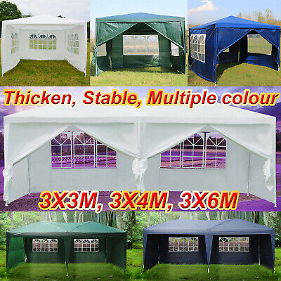 3x3m/3x4m/3x6m/3x2m Gazebo Waterproof Outdoor Garden Marquee Canopy White Blue
