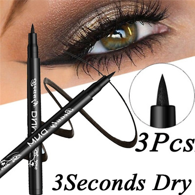 Black Eyeliner Vamp Pen Seal Eye Liner 3Pcs/Set Head Makeup Tool Waterproof