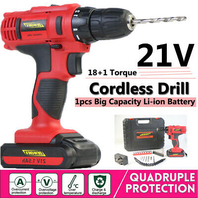 HEAVY DUTY 21V CORDLESS DRILL ELECTRIC DRIVER 1.5Ah LITHIUM-ION LED 2 SPEED TOOL