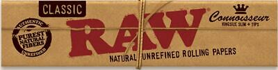 3 X RAW Classic Connoisseur King Size Rolling Papers with Tips Free gift ships f