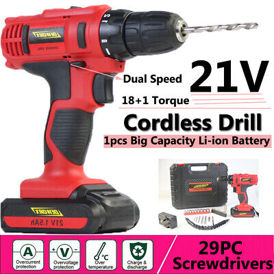 HEAVY DUTY 18+1 TORQUE 21V CORDLESS DRILL ELECTRIC DRIVER 1.5Ah LITHIUM-ION 29PC