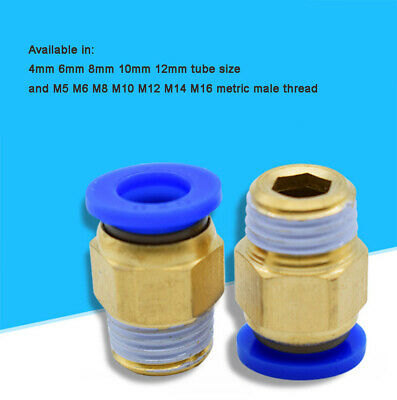 Pneumatic Fitting Metric Male Stud to Hose Tube Inline Push In Fit Connector