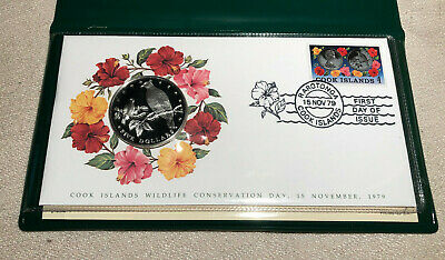 Cook Islands 1979 Wildlife Conservation $5 Dollars Proof Silver Coin FDC