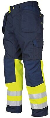 Projob Mens Work Trousers Hi Vis Reinforced Polycotton Knee Pad Pockets Workwear