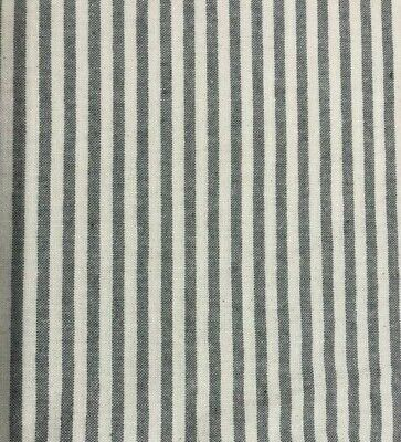 Cambridge Pinstripe French Linen Fabric in Grey - Double Width - 280cm Wide